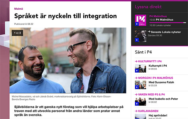 Självbildarna i Malmö gästar Sveriges Radio P4 med Susanne Fatah och pratar integration, uttalsutbildning med logopeder för invandrare